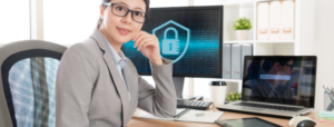 Employee securing company's data from online theft